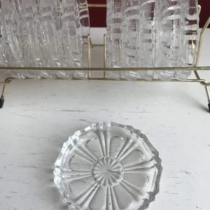 Glazen onderzetters in rekje
