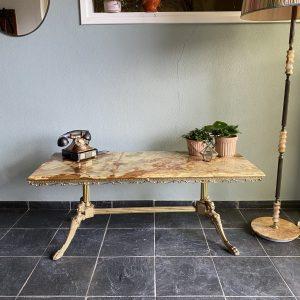 Antieke Barok tafel met marmeren Onyx tafelblad