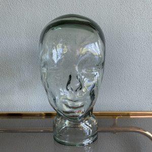 Vintage glazen hoofd van groen glas