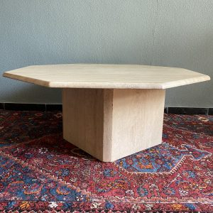 traventin coffee table octagonal