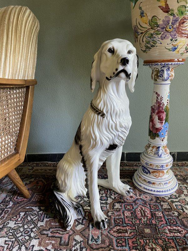 keramiek hond hollywood regency porselein aardewerk engelse setter beeld