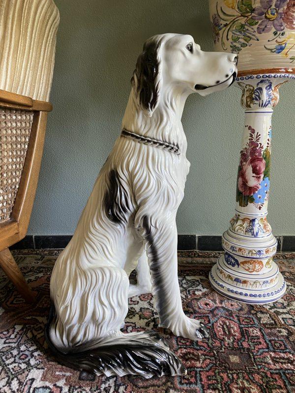 keramieken hond hollywood regency porselein aardewerk engelse setter beeld