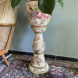 Keramieken plantenstandaard/zuil/pilaar Capodimonte