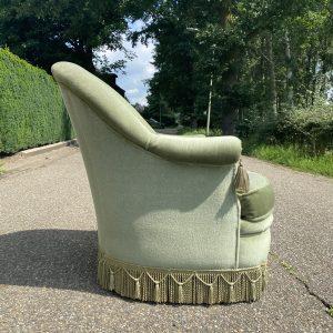 Lichtgroene velours fauteuil