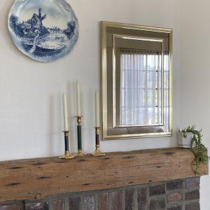 Spiegel messing met rookglas 50x70cm