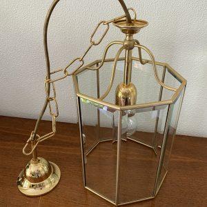 Hanglamp messing glas 8-hoekig