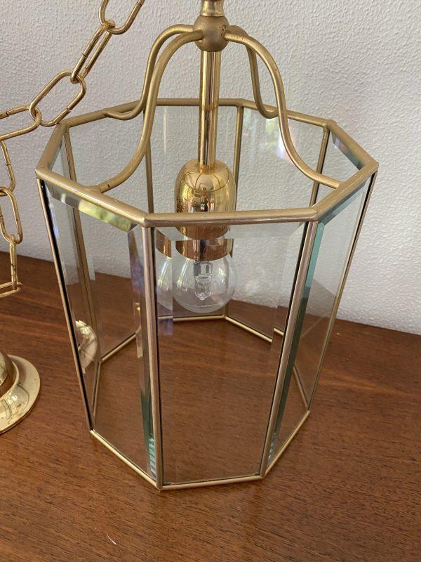 hanglamp messing glas achthoekig paneel hollywood regency