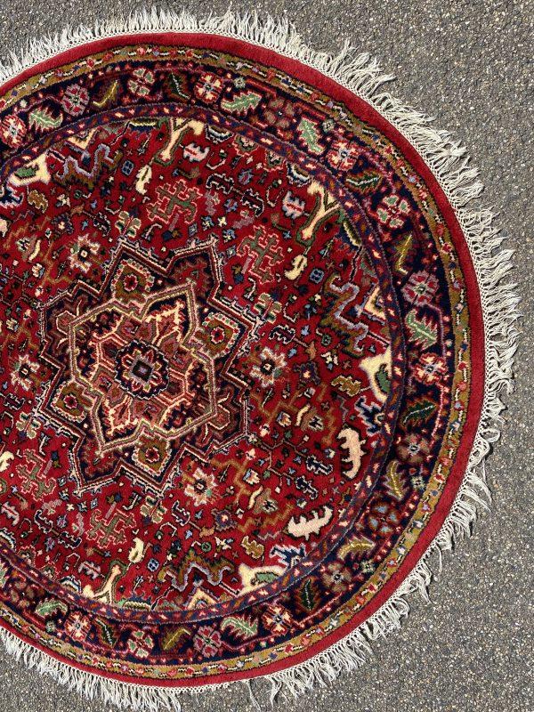 rond vloerkleed ronde pers perzisch tapijt rood blauw wol