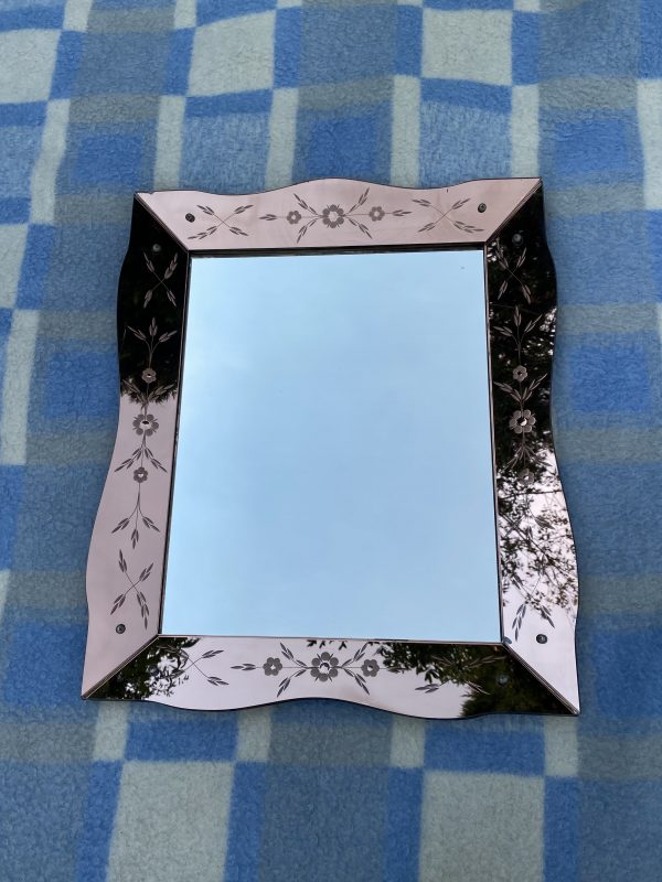 art deco venetiaanse spiegel roze panelen bloemen panelen delen rose