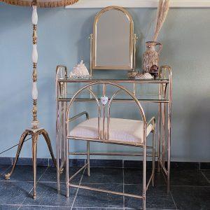 Vintage messing kaptafel incl. stoel (Hollywood Regency)