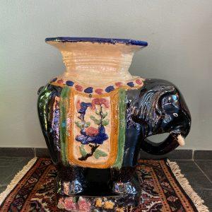 Vintage XL keramieken olifant bijzettafel/plantentafel 61cm hoog