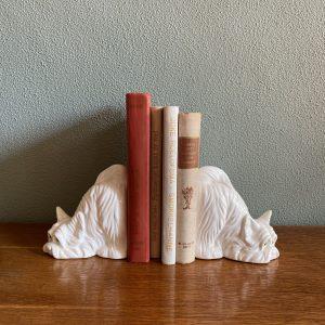 Vintage boekensteun set hondjes keramiek