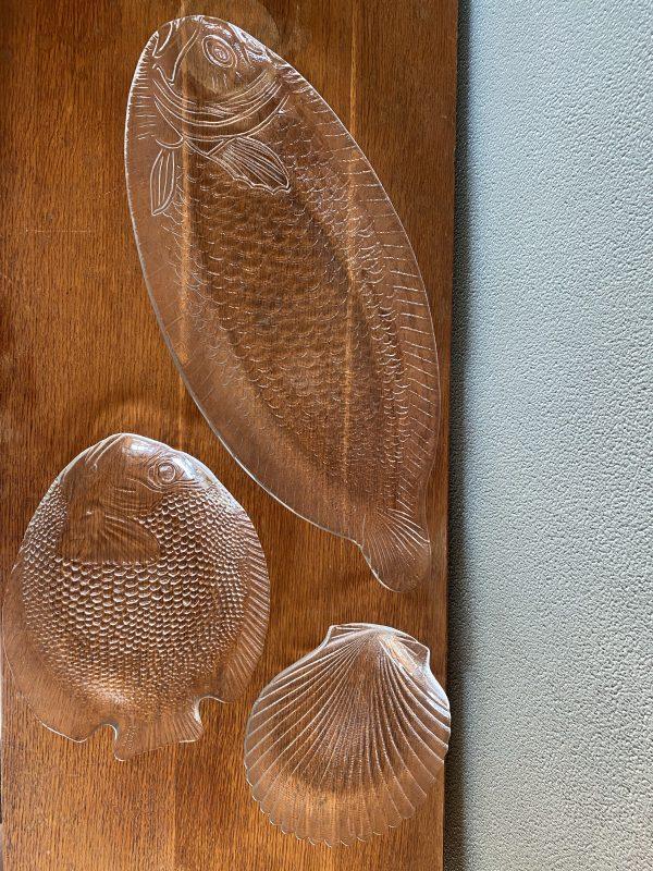 vintage vis schaal serveerschaal bord glas