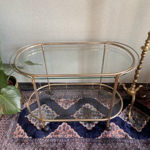 Vintage messing bar cart / serveerwagen / trolley / sidetable
