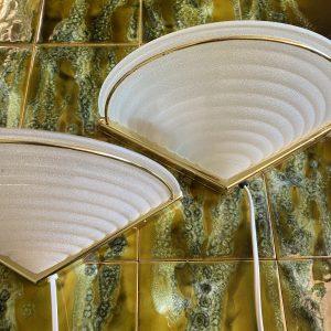 Messing met matglas wandlamp