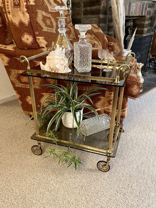 serveerwagen bar cart kleinere kleine messing rookglas trolley theewagen