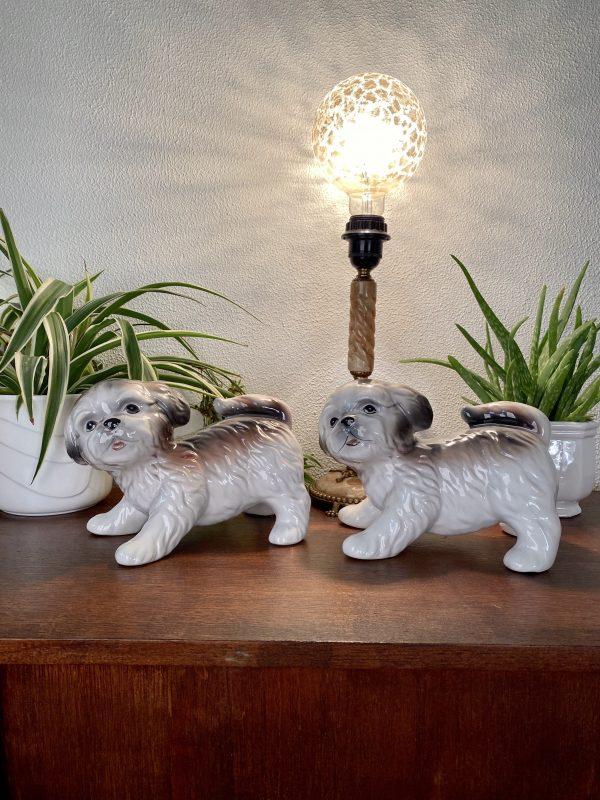 Keramiek keramieken shih tzu hond hondje handgeschilderd vintage italy