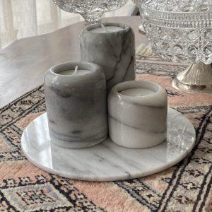 Set waxinelichthouders marmer