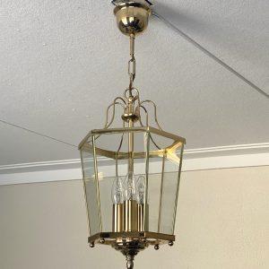 Hanglamp 6-hoekig messing met glas – Hollywood Regency