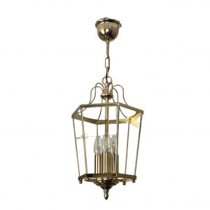 Hanglamp 6-hoekig messing met glas – Hollywood Regency