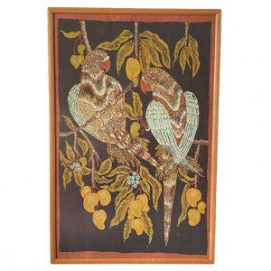 Schilderij van papegaaien op textiel in lijst 90x60cm (kopie)