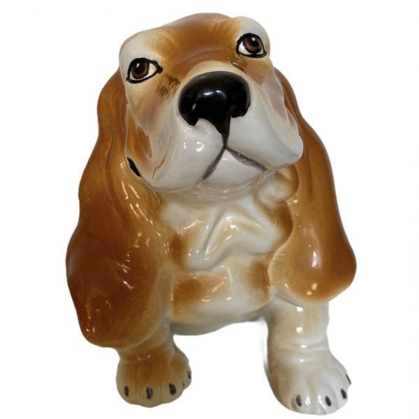 Made in italy Basset hound hond keramiek hondje beeld vintage