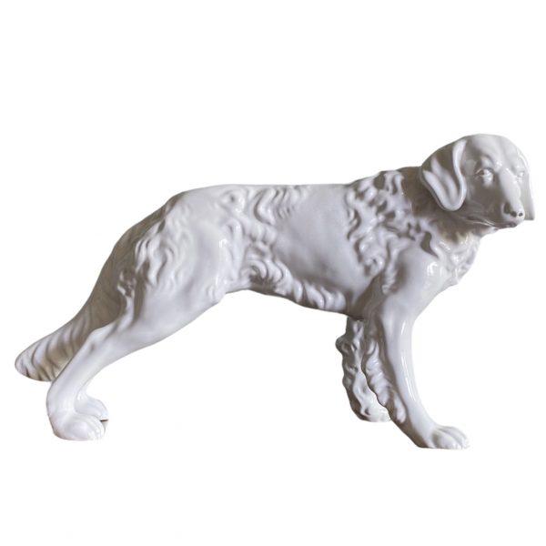 keramiek hond beeld vintage wit