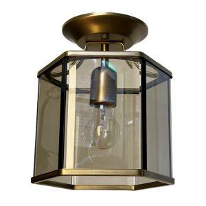 Design plafondlamp Holtkötter messing rookglas