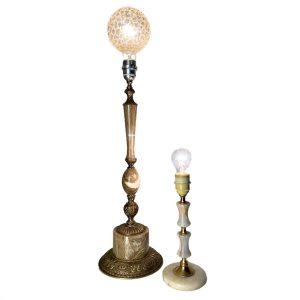 XL lampenvoet messing met marmer 60cm hoog