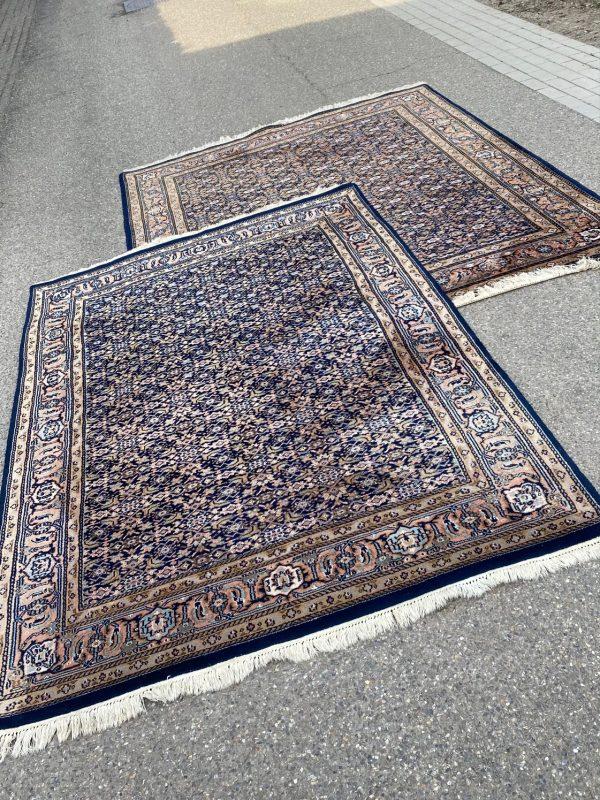 set van 2 Herati perzisch kleed vloerkleed tapijt pers marineblauw oranje roze limburg vintage