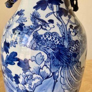 Antieke Chinese vaas lamp – Celadon blauw wit (57cm) (1/2)