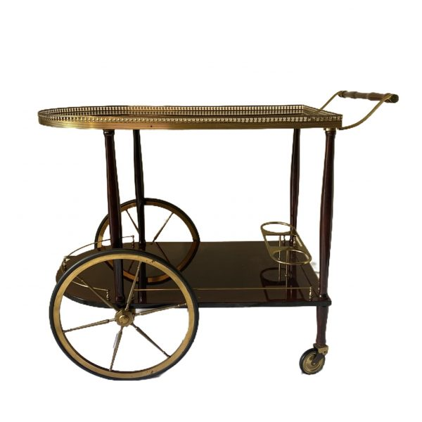 bar cart drgm serveerwagen trolly messing brass walnoot fineer goud 1940