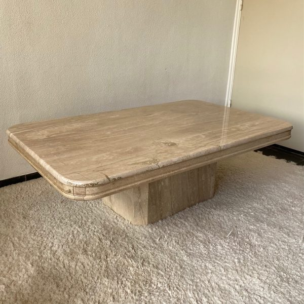 salontafel jaren 70 travertin travertine natuursteen tafel