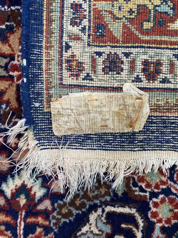 Feraghan tapijt vloerkleed perzisch pers handgeknoopt marineblauw bruin limburg vintage