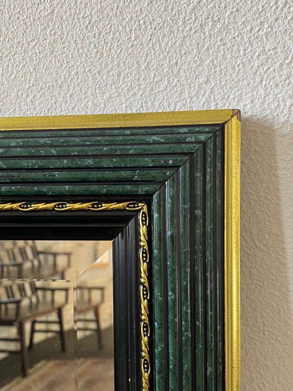 Vintage spiegel groen zwart goud messing hout facet geslepen limburg roermond