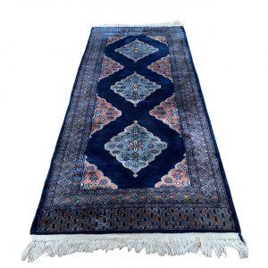 Handgeknoopt Perzische vloerkleed blauw 75x165cm