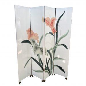 Kamerscherm hout met handgeschilderde bloemen 182,5cm hoog