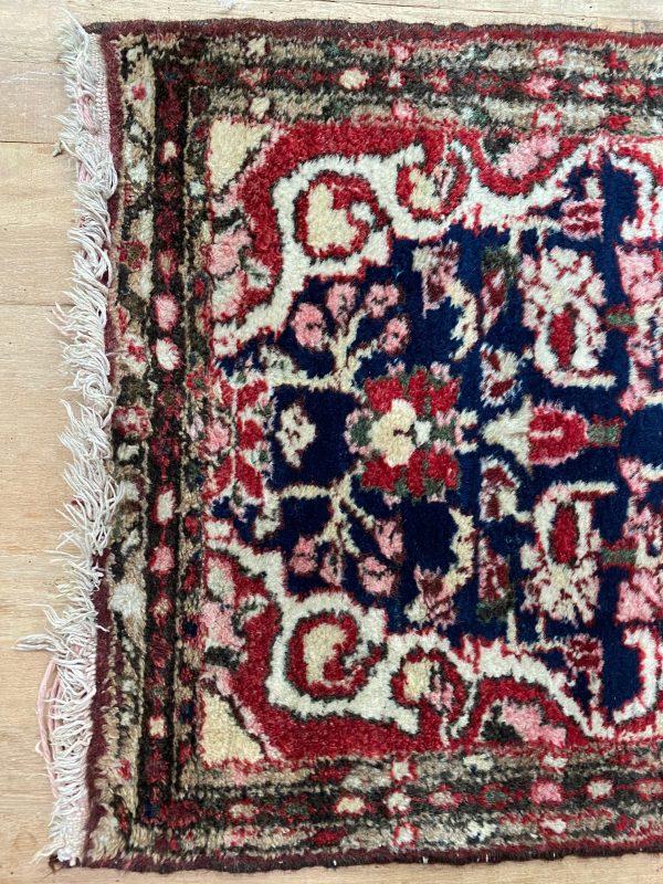 handgeknoopt perzisch tapijt kleed vloerkleed vintage wol donkerblauw marineblauw roze beige