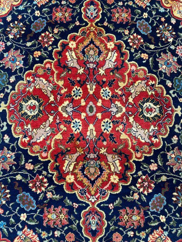 handgeknoopt perzisch Keshan kashan tapijt kleed vloerkleed vintage wol donkerblauw marineblauw roze beige geel