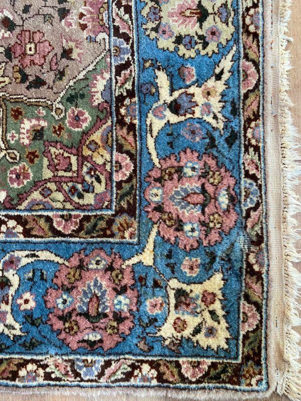 handgeknoopt perzisch tapijt kleed vloerkleed vintage wol beige blauw lichtblauw limburg roermond