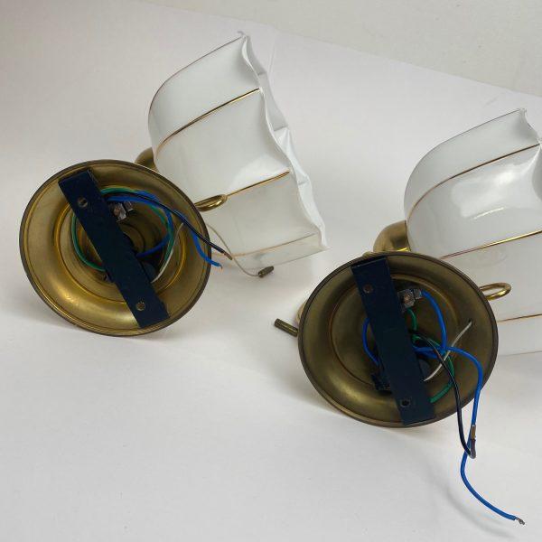 vintage messing wandlamp glazen kap goud hollywood regency
