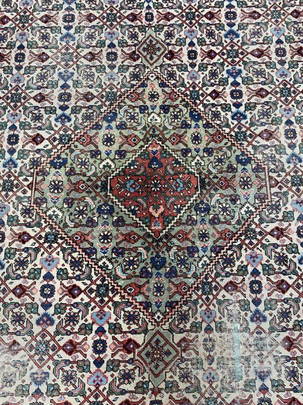 perzisch tapijt groen blauw wit kleed vloerkleed pers limburg vintage groot 3x3,5m antiek